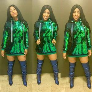 Green Sequins Hoodie Dress
